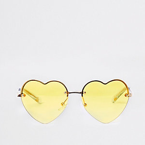 Girls yellow heart mirror lens sunglasses