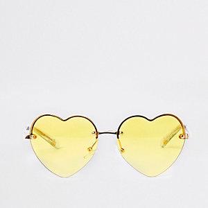 Lunettes de soleil cœurs jaunes à verres effet miroir pour fille