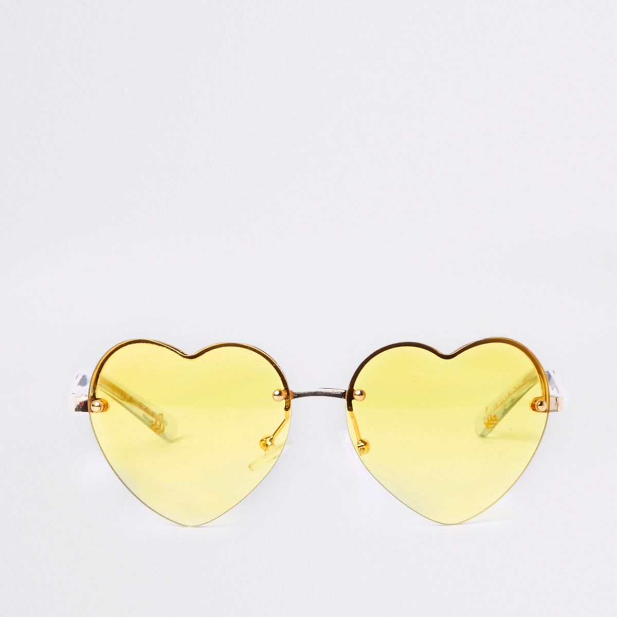Girls yellow heart mirror lens sunglasses