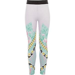 Girls lilac floral spliced leggings
