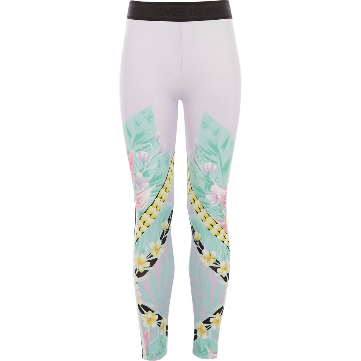 Girls lilac floral spliced leggings