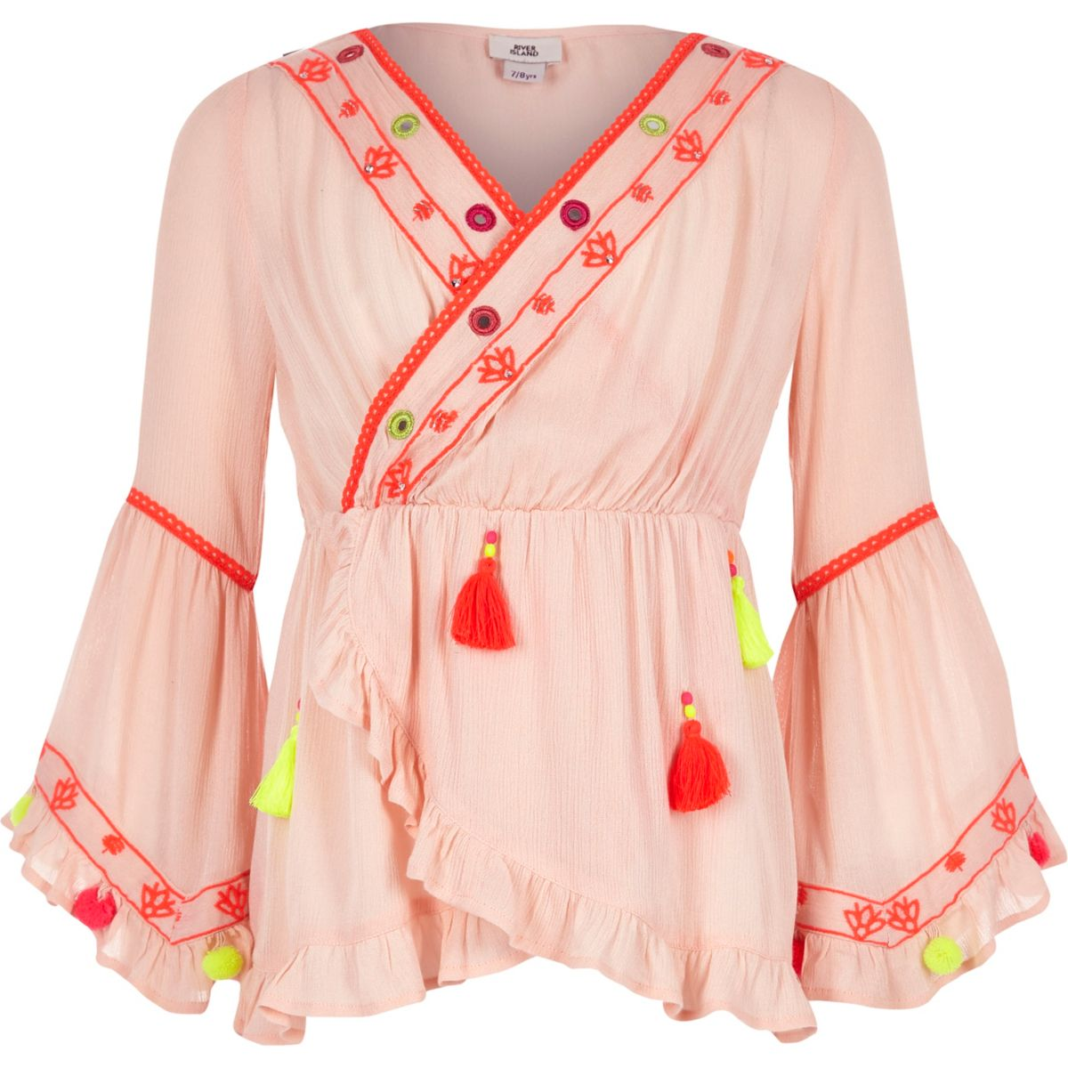 Girls pink frill hem pom pom detail tunic top