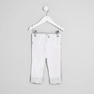 Mini girls white Amelie crochet hem jeans