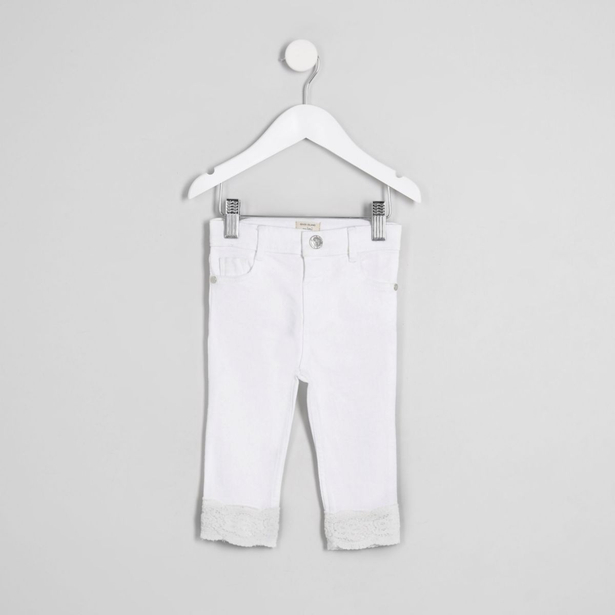 Mini girls white Amelie crochet hem jeans