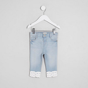 Mini girls mid blue Amelie crochet hem jeans