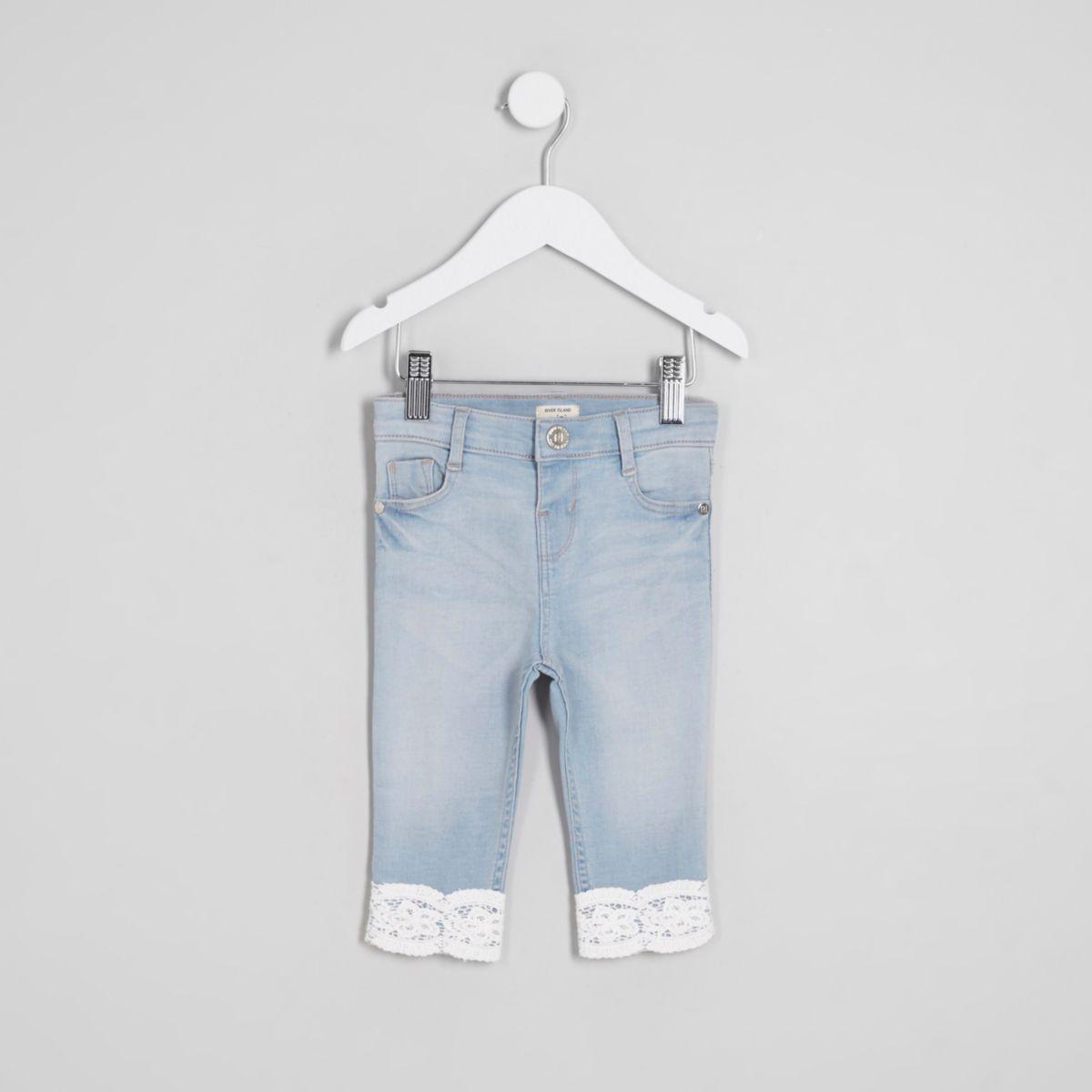 Mini girls mid blue Amelie crochet hem jeans