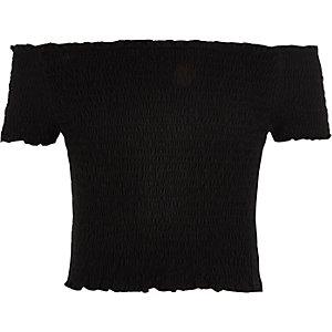 Zwarte gesmokte bardottop voor meisjes