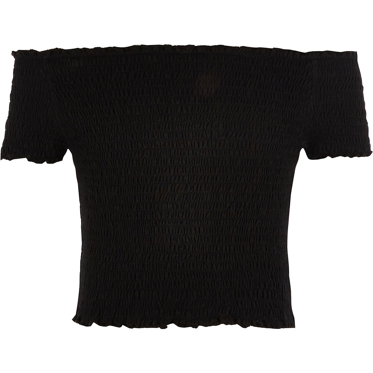 Girls black shirred bardot top