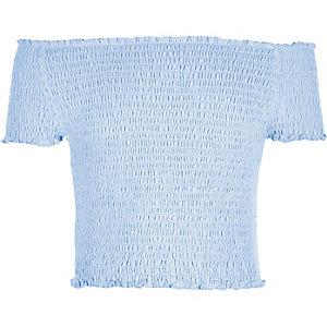 Blauwe gesmokte bardottop voor meisjes