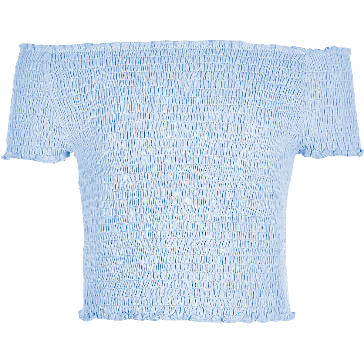Girls blue shirred bardot top