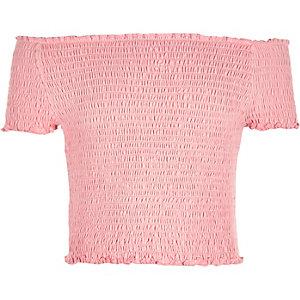 Koraalrode gesmokte bardottop voor meisjes