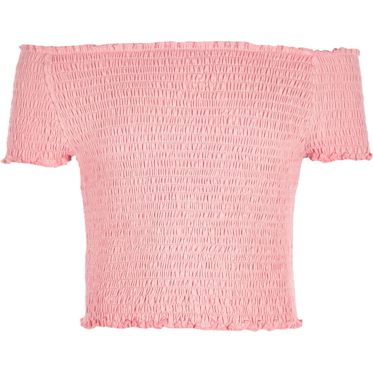 Girls coral shirred bardot top
