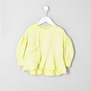 RI – Sweat « Only love » jaune mini fille