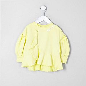 Mini - Geel sweatshirt met 'Only love'-print voor meisjes