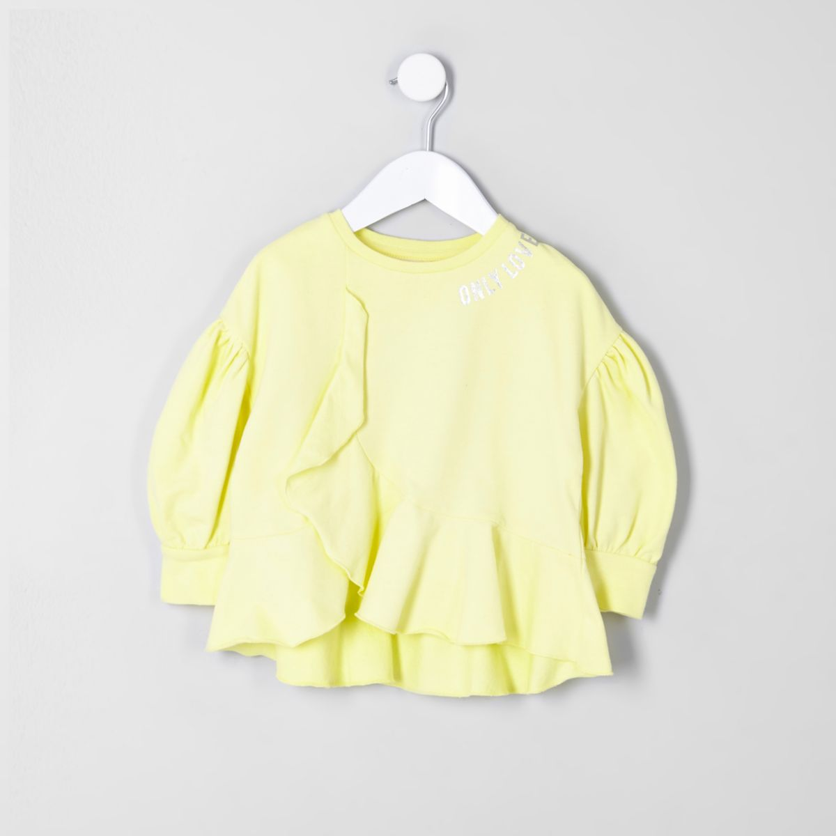 Mini girls RI yellow 'Only love' sweatshirt