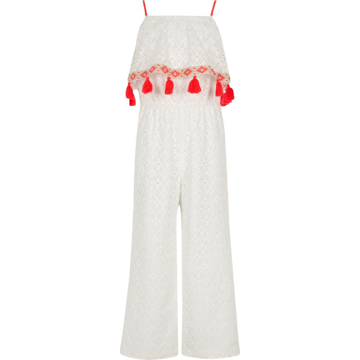 Girls white lace tassel trim jumpsuit