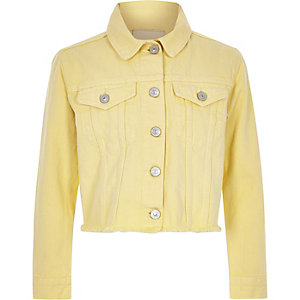 Girls yellow frayed hem denim jacket