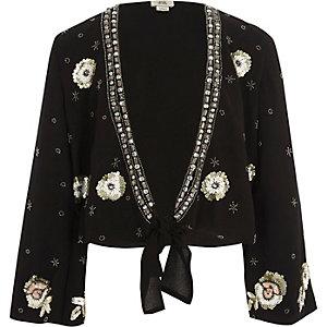 Zwart verfraaid vest met strik voor meisjes