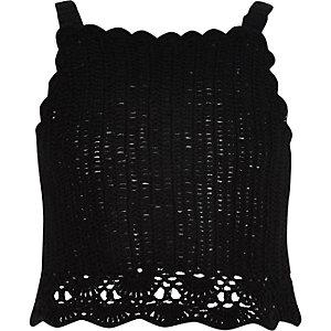 Crop top au crochet noir à bretelles fines pour fille