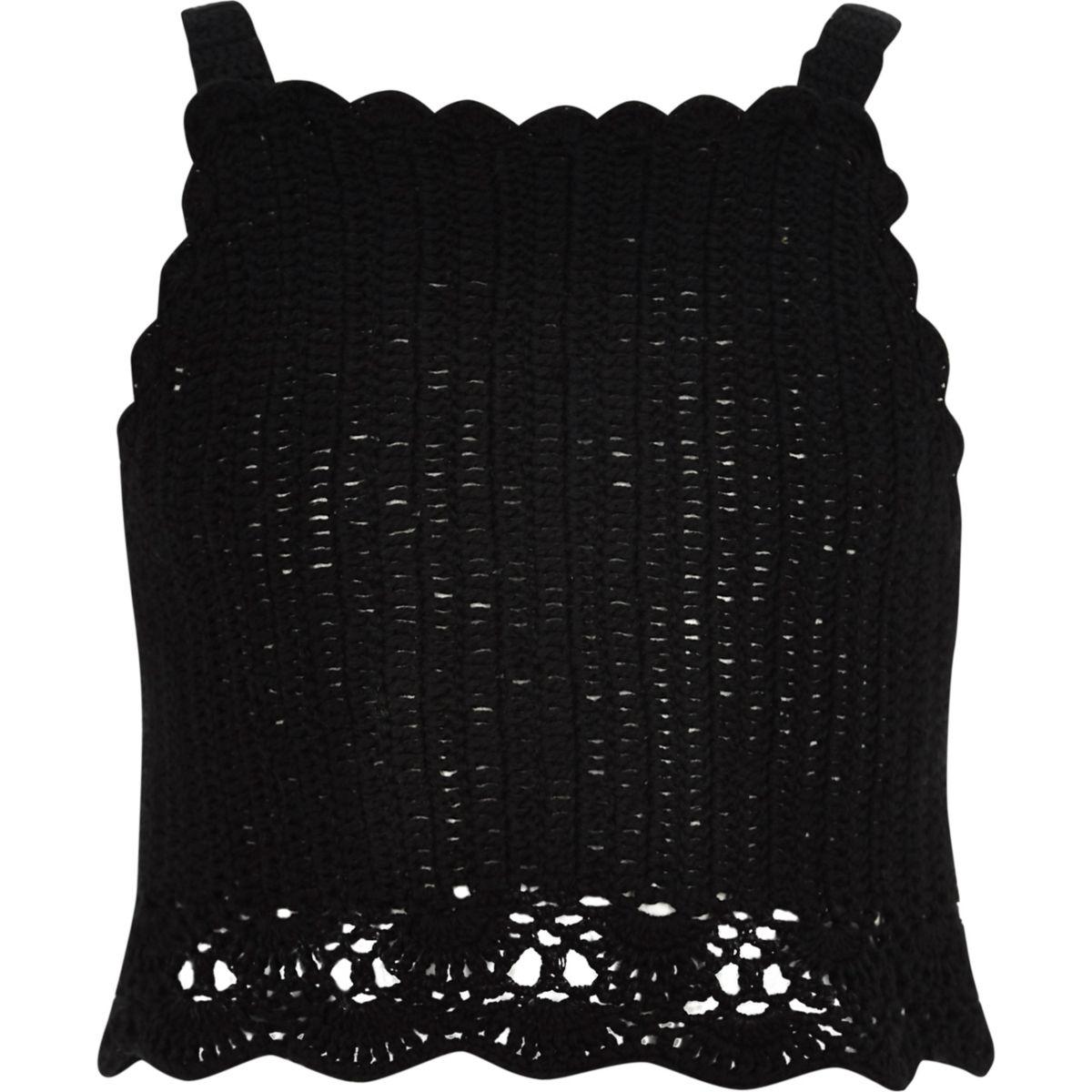 Girls black crochet cami crop top