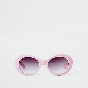 Girls pink oval retro style sunglasses