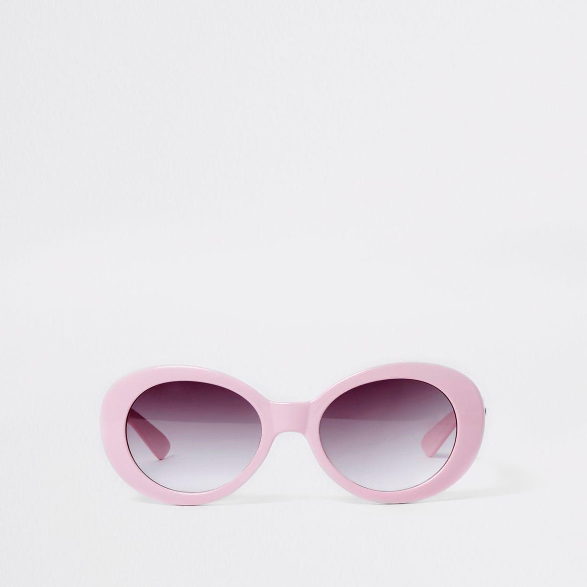 Lunettes de soleil roses rétro ovales pour fille