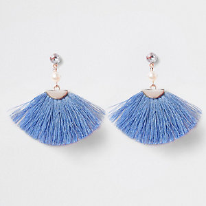 Girls blue tassel fan clip on earrings