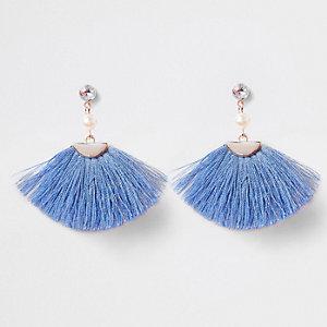 Blaue Ohrringe mit Quaste