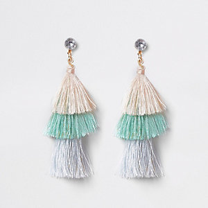 Girls blue tiered tassel drop clip on earring