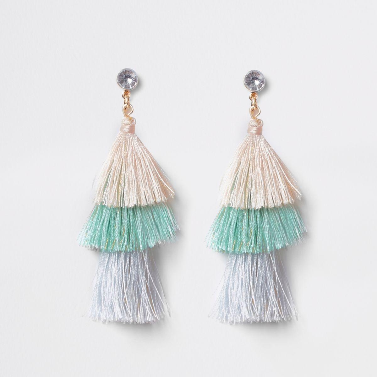 Girls blue tiered tassel drop clip on earring
