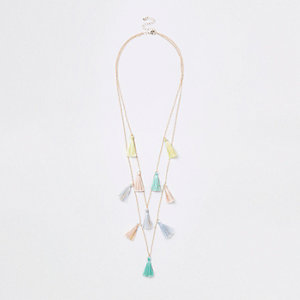 Girls gold tone multicoloured tassel necklace