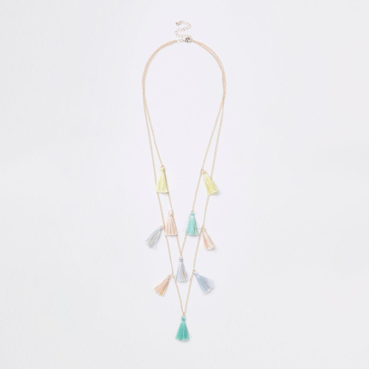Girls gold tone multicoloured tassel necklace