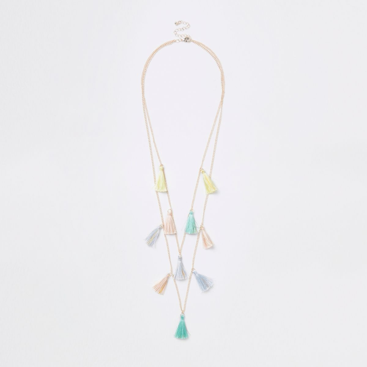 Girls gold tone multicolored tassel necklace