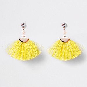 Oorbellen met clip en gele kwastjes voor meisjes