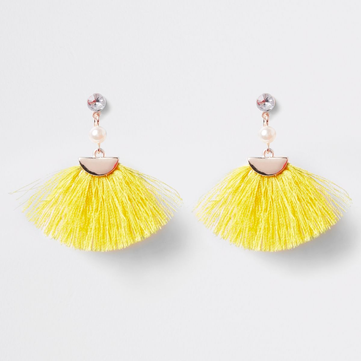 Girls yellow tassel fan clip on earrings