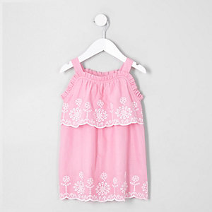 Mini girls broderie trapeze dress