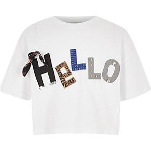 """Weißes, kurzes T-Shirt """"hello"""" mit 3D-Blume"""