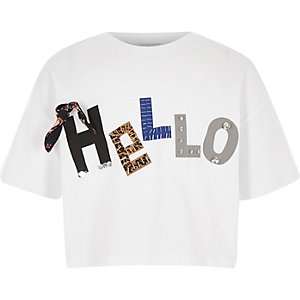 Wit cropped T-shirt met 'hello' in 3D-print