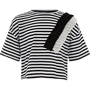 Girls white stripe woven frill T-shirt