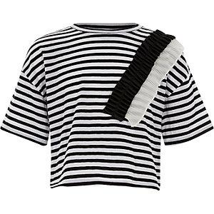 T-shirt rayé à volant tissé blanc pour fille