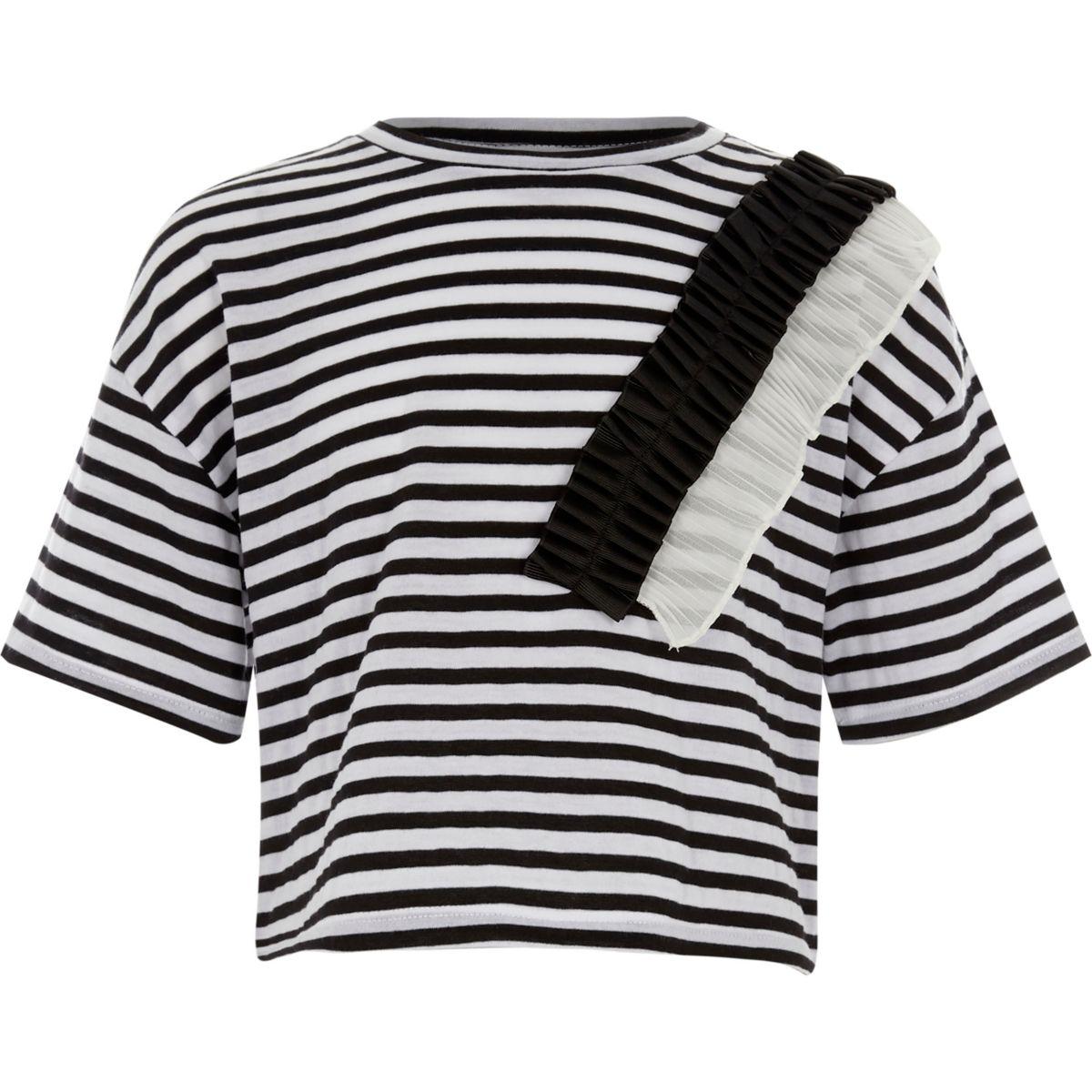 Girls white stripe woven frill T-shirt