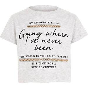 Grijs T-shirt met 'explore'-print en verfraaide bies voor meisjes