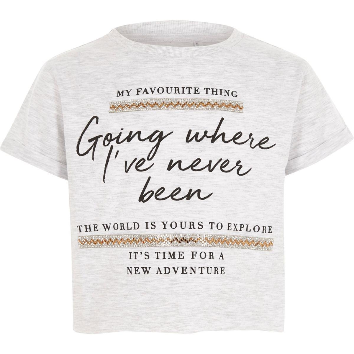 Girls grey 'explore' embellished trim T-shirt