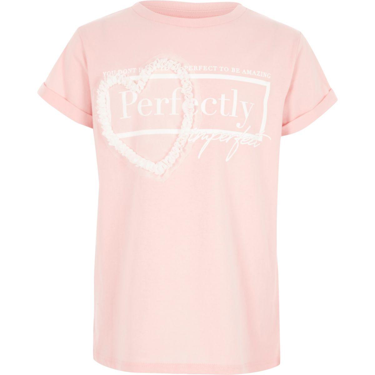 Girls pink mesh 3D heart oversized T-shirt
