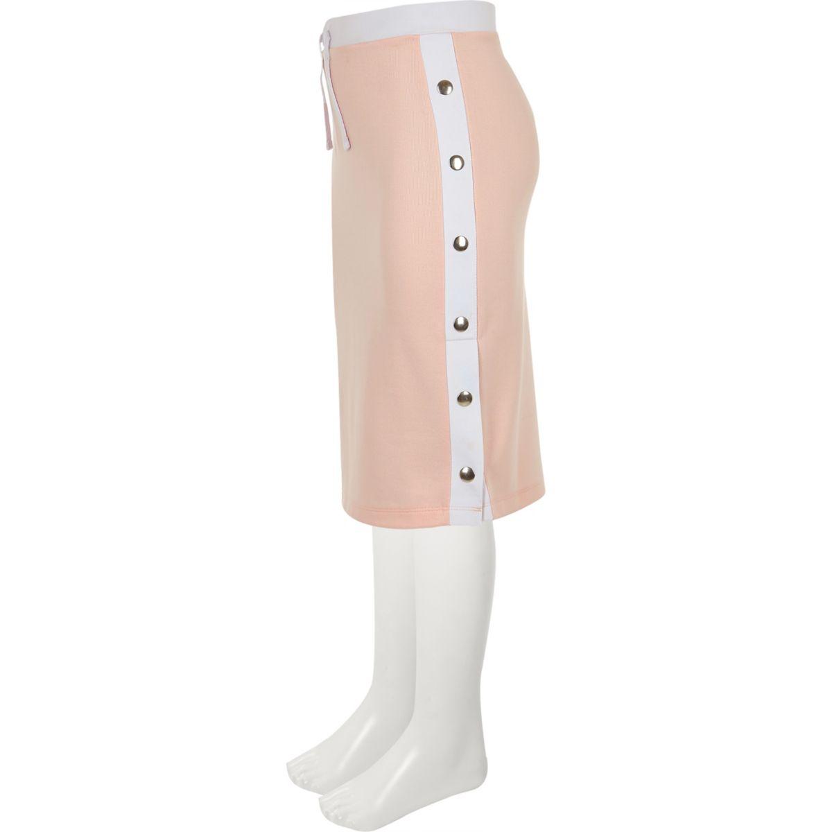 Girls pink side popper tube skirt