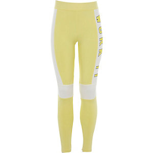 Girls yellow 'work it' blocked leggings