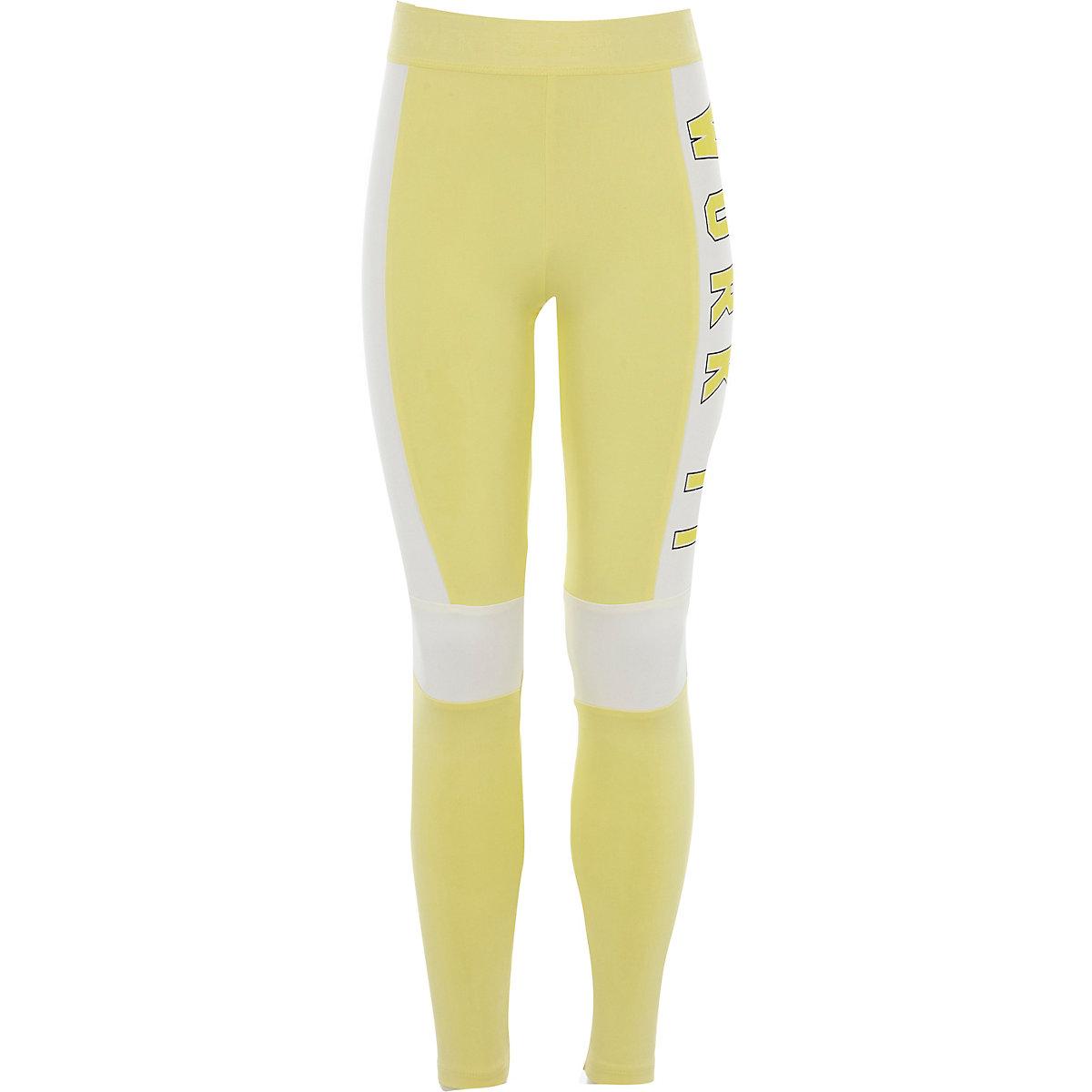 Girls yellow 'work it' blocked leggings