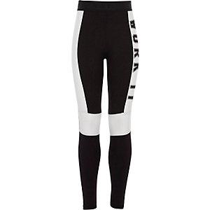 Witte legging met kleurvlakken en 'work it'-print voor meisjes