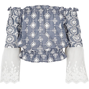 Girls light blue embroidered bardot top