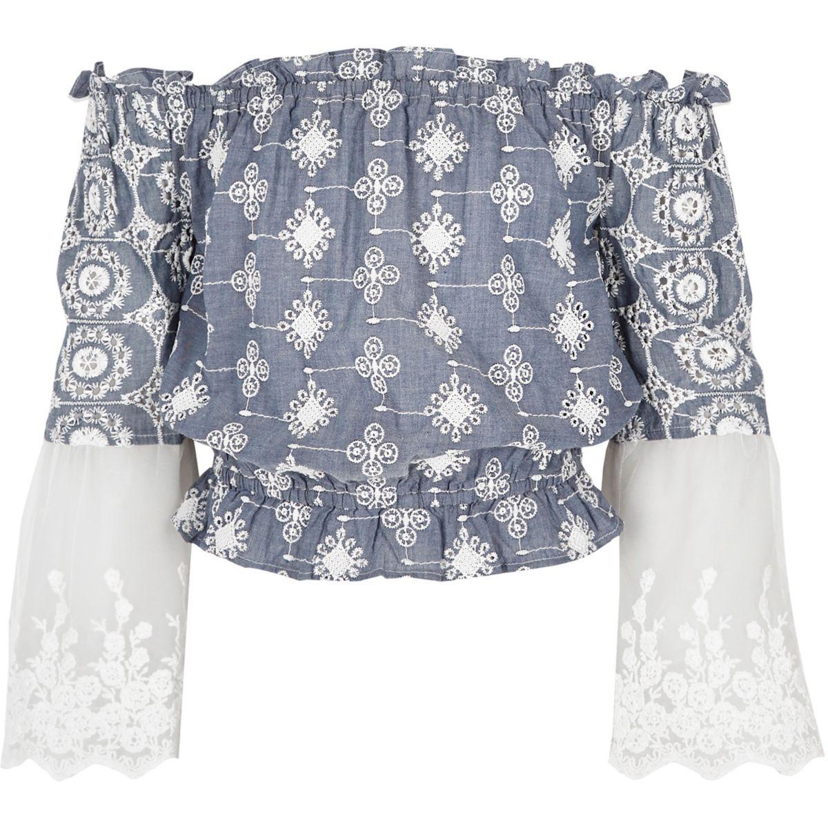 Girls light blue embroidered bardot top